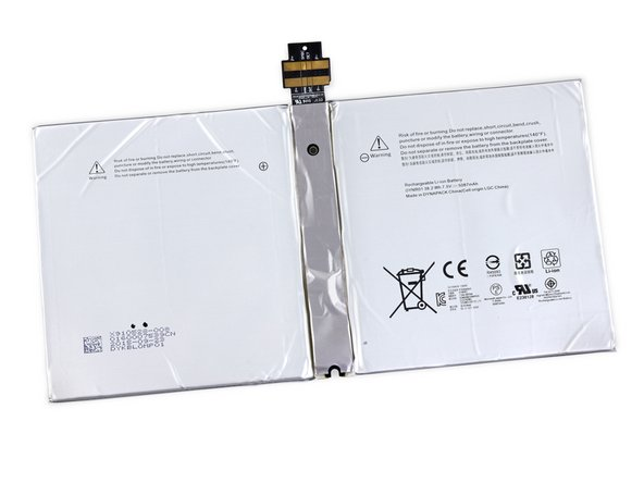 This 38.2 Wh, 7.5 V battery is rated at 5087 mAh—a 9 percent decrease from the 5547 mAh battery in the Surface Pro 3.
