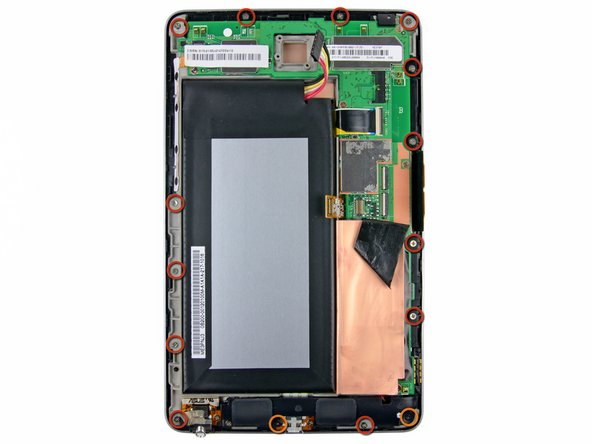 Remove the following screws securing the display assembly to the metal frame: