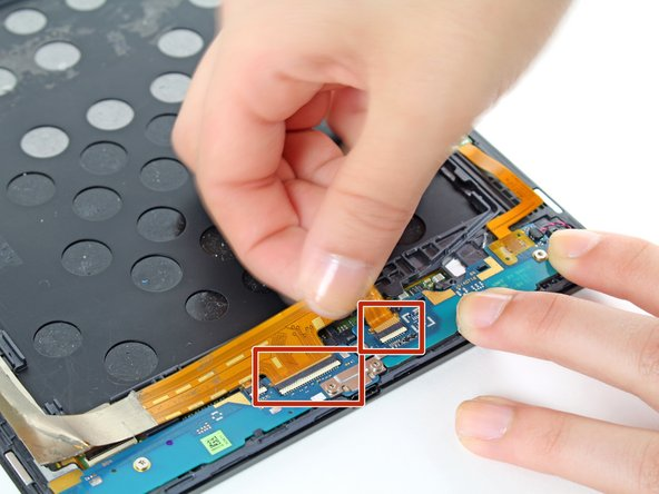 Disconnect the two ZIF connectors attached to the daughterboards.