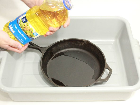 Coat the pan or skillet with vegetable oil.