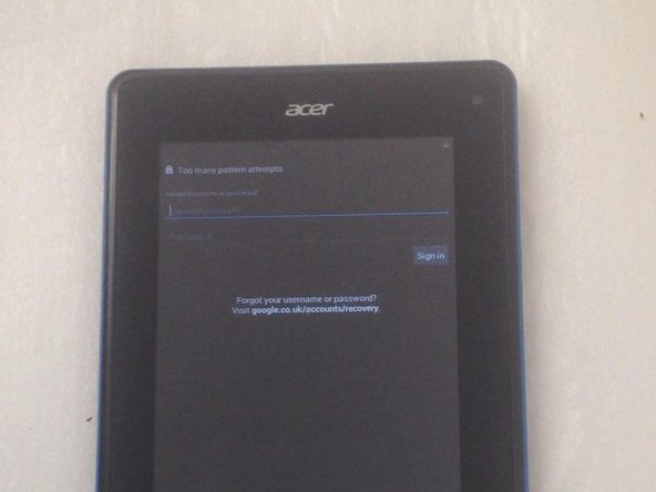 Acer Iconia Tab B1 Factory Hard Reset/Password Removal