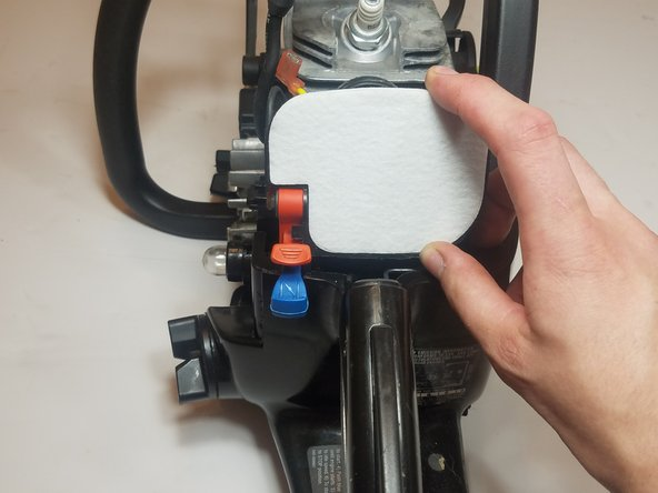 Install the new air filter onto the air filter housing