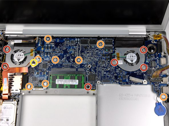 Remove the following 16 screws, moving cables as necessary: