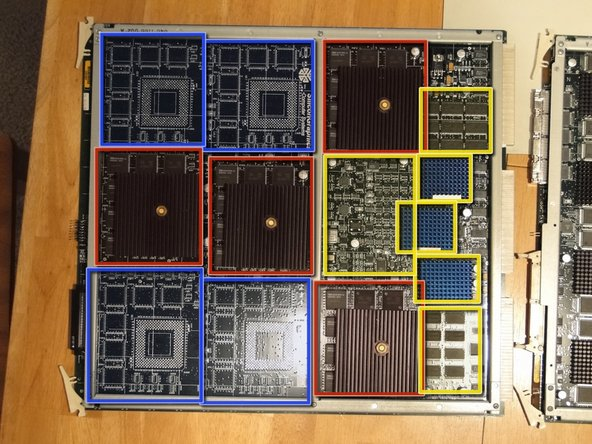 The geometry engine board contains 4 SiliconGraphics GE12 geometry processors