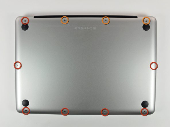 "Remove the following 10 screws securing the lower case to the MacBook Pro 13"" Unibody:"