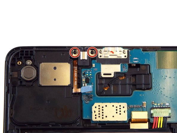 Use the PH0 screwdriver bit to remove the 2.5 mm screws attaching earphone jack to the rest of the device.