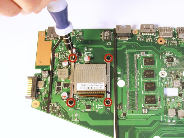 Remove the four 3.2 mm Phillips #0 screws holding the heat sink in place using the Phillips #0 Screwdriver.