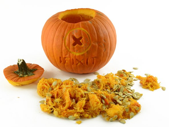Like an overripe zombie, our Pumpkin has completely spilled it guts. The witching hour is now over.
