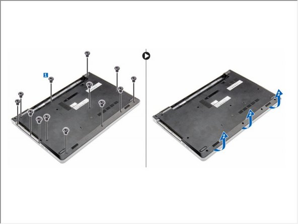 Remove the screws that secure the base cover to the computer [1].