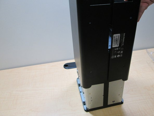 To remove the case, place the Drobo on its back and slide the case off.