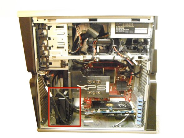 The card fan is located at the bottom left corner of the computer.