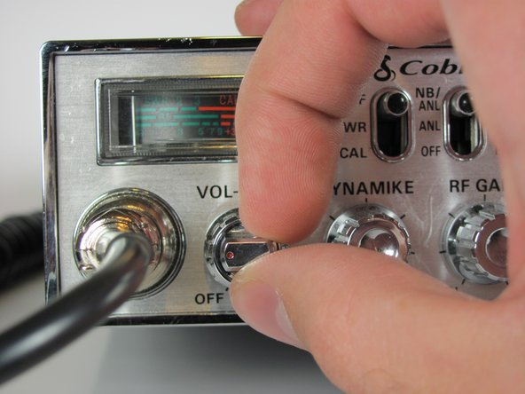 Turn the power switch, the leftmost knob, counterclockwise to off.