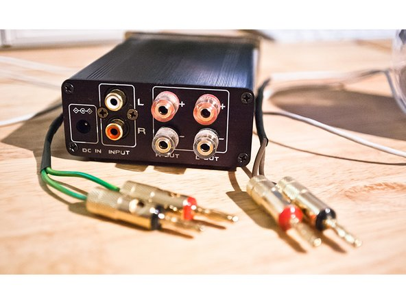 You are almost done. Now properly connect the speaker cables/banana plugs with your amp. Connect your Mac or PC or some other audio device with the amp and enjoy your old new Apple Pro Speakers.