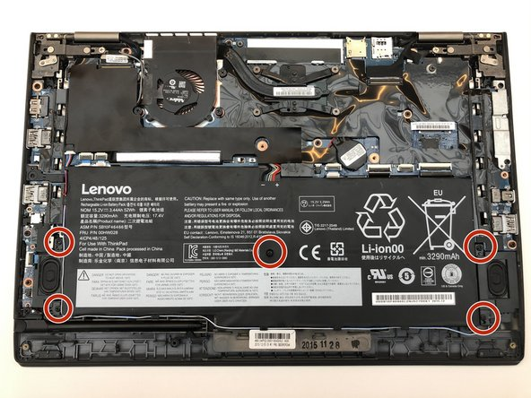 Remove the five 4.5mm Phillips #1 screws that secure the battery.