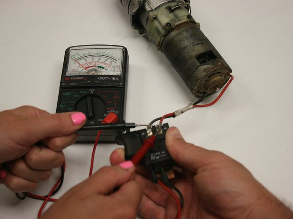 Use a multimeter set above 18V DC to check electrical connections where wires meet drill, switch, or battery terminal.
