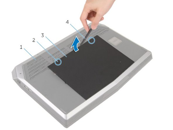 Tighten the captive screws that secure the base panel to the computer base.