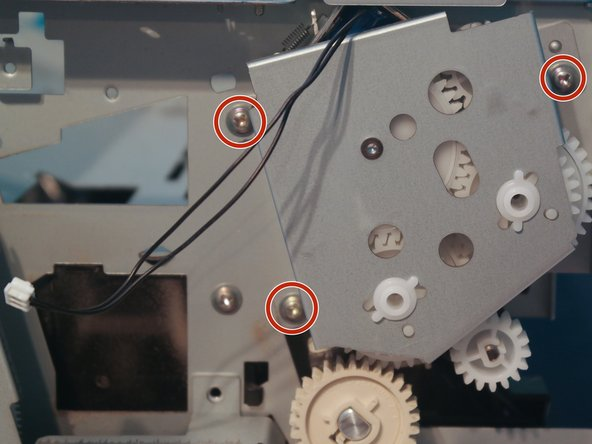 Remove 3 screws on the duplexer gear assembly.
