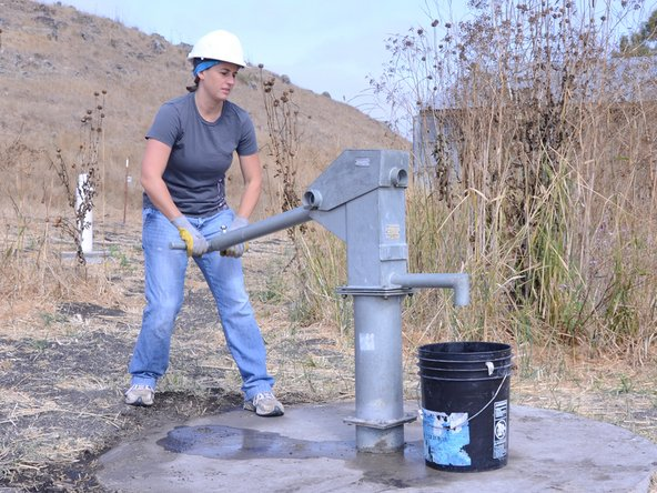Perform a water test on the pump, by raising and lowering the handle a full 40 strokes. A properly performing pump will yield greater than 10 liters.