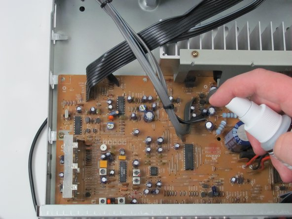 Lightly spray the circuit board with DeoxIT.