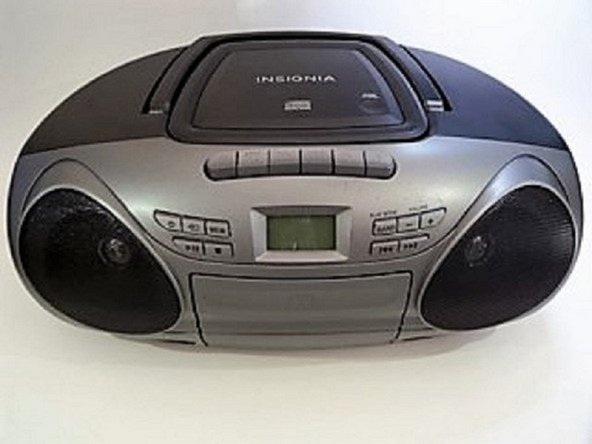 Turn the boombox around to see the back, and then flip it upside down.