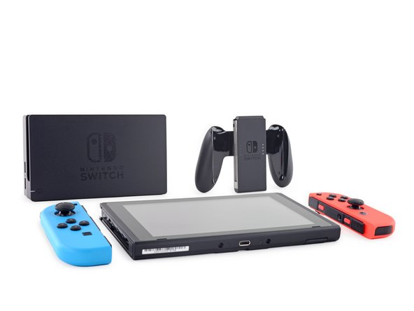 Before we get too far, we take stock of Nintendo's offerings. We've got the console itself, two Joy-Cons, a dock, and the Joy-Con Grip.