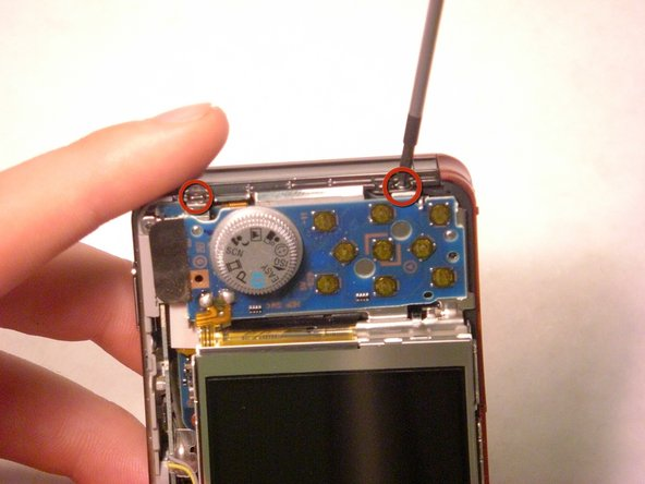 Remove the two screws at the top of the camera casing.
