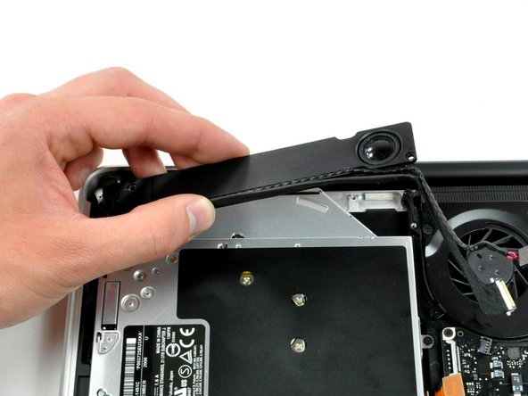 The subwoofer is still connected to the right speaker, so don't completely remove it just yet.