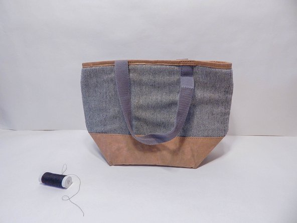 Find colored thread to match the color of the lunch bag and a needle.