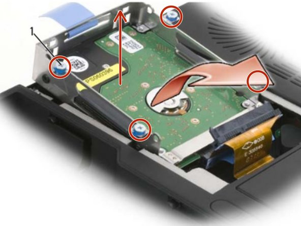 Loosen the four captive screws on the hard drive cage and then lift the  pull-tab to flip the cage towards the center of the computer so that the  SATA cables and connec tors are accessible.
