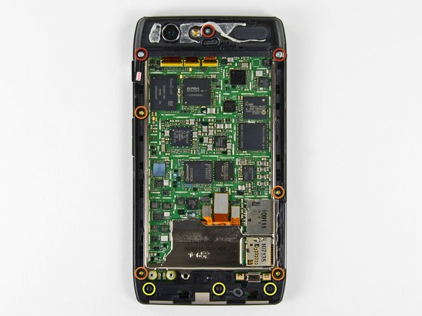 Remove the six screws securing the rear case to the rest of the phone: