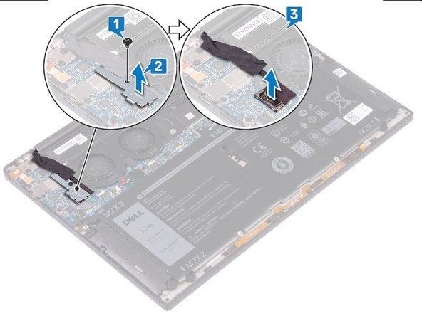 1- Retirer la vis (M1,6 x 3) qui fixe la carte WiFi et le support de câble la webcam sur la carte-mère.