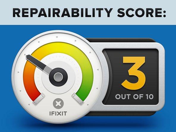 """iMac Intel 21.5"""" Retina 4K Display 2017 Repairability Score: 3 out of 10 (10 is easiest to repair)"""