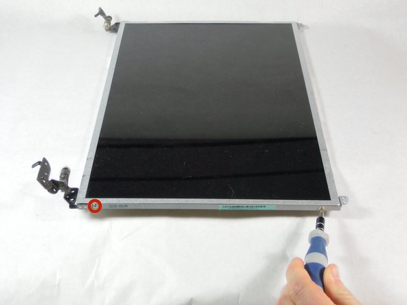 Remove the four 4 mm Phillips #1 screws from the sides of the screen.