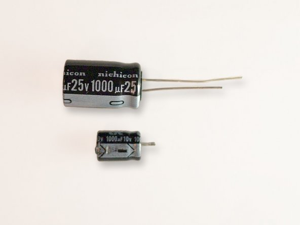 Obtain (4) 1000uF capacitors rated for 25 volts.  The replacement capacitors featured in this guide were purchased from Digi-key. Digi-key part number: UHE1E102MHD6.   http://search.digikey.com/scripts/DkSear...