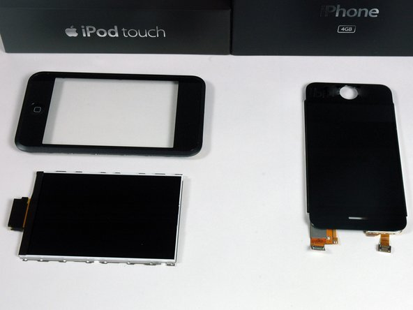 Left: iPod Touch front bezel and LCD. Right: iPhone LCD and integrated bezel.