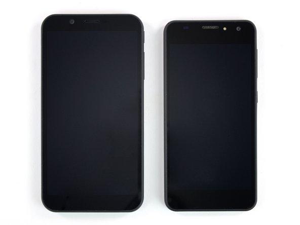 Das 5,7 Zoll große Shift 6m (links/unten) ist nur 1 mm dicker als das 5 Zoll große Shift 5.1 (rechts/oben).