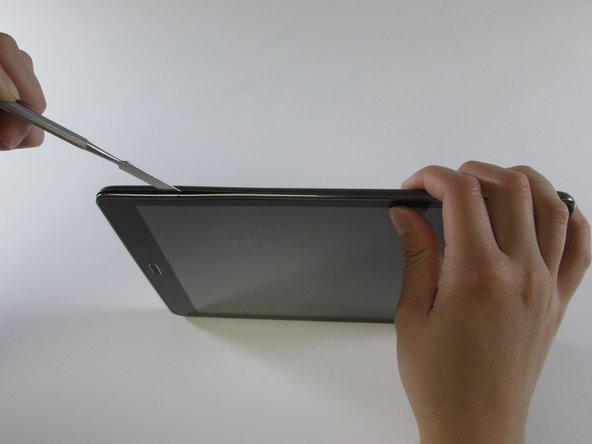 Insert a metal spudger between the back case and the screen of the device.