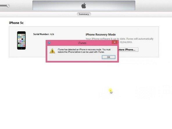 iTunes heeft een iPhone in herstelmodus gedetecteerd.