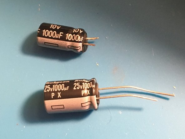 Be conscious of the orientation of the new capacitor. Electrolytic capacitors like this one are polarized and will only work in one direction.