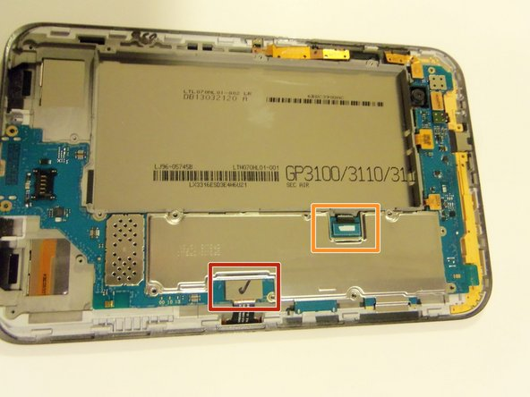 Release all flex cables on the right side of the device motherboard as shown.