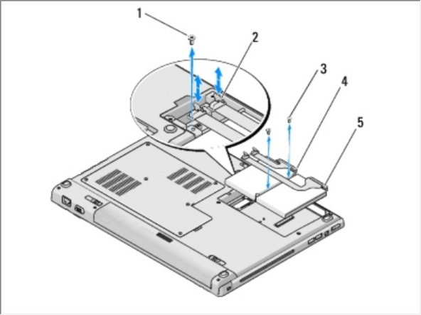 Remove the three screws that secure the hard drive to the computer.