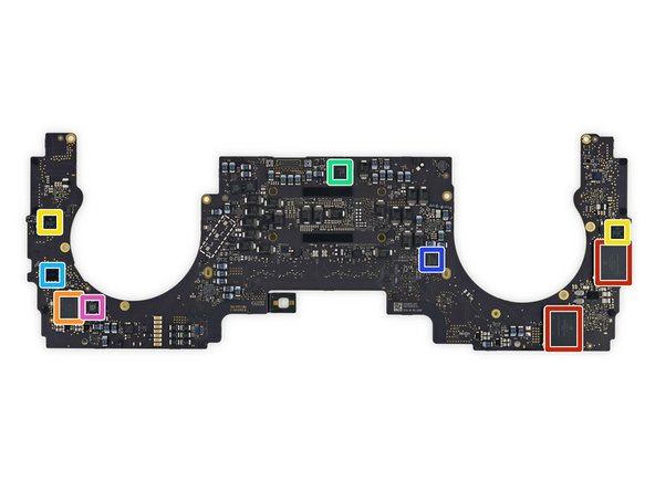 Flipping the logic board over, we find no shortage of components, including: