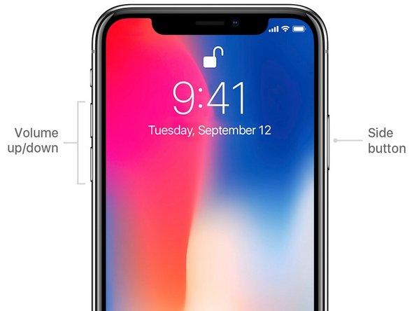 Pour l'éteindre, maintenez le bouton latéral et l'un des boutons de volume enfoncés simultanément jusqu'à l'apparition d'un curseur pour éteindre votre iPhone X ( Il y aura aussi le curseur pour la fiche médical, ainsi que le curseur pour un appel d'urgence)
