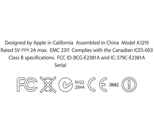 The iPad's model number of A1219 is interesting.