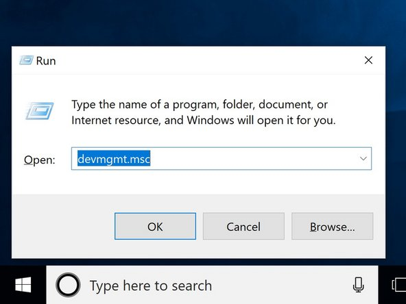 """In the run window type """"devmgmt.msc"""", and hit the OK button."""