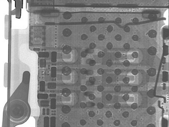 The SIM card connector is well defined in the iPhone 6. Note the voiding in the solder balls of the connector.