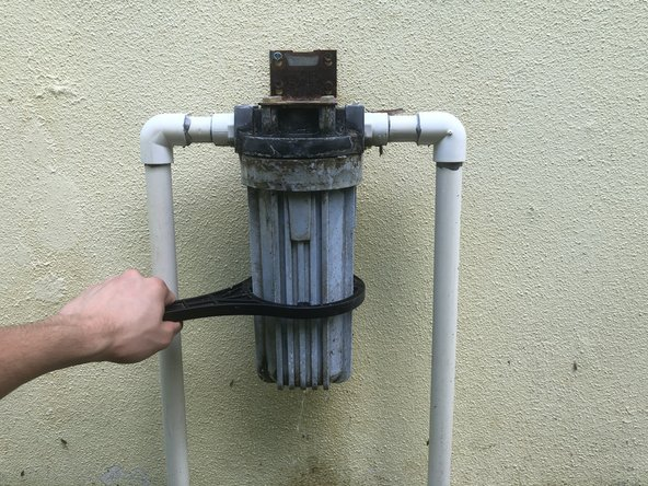 Unscrew the filter canister using the canister wrench.