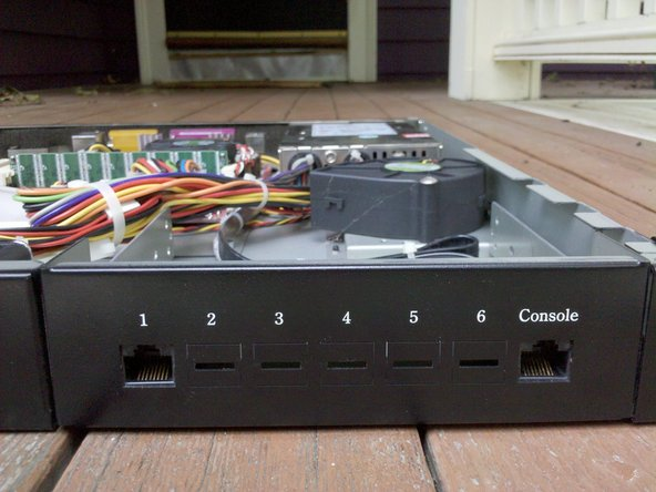 Here is a close-up of the ports on the front.  You usually hook this up inside your company firewall.