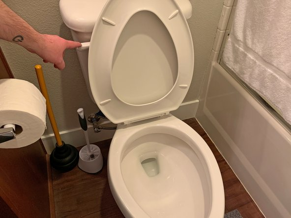 Once the toilet is unclogged, give the toilet a victory flush to clear out any residual matter left over from the clog.