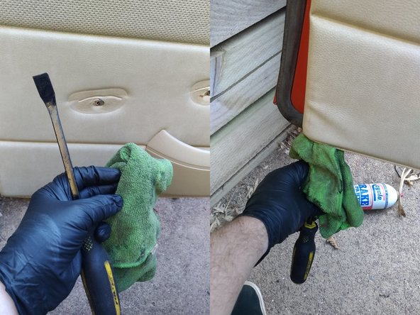 The interior door trim panel is held in place by a series of push-pins around the edge of the panel, you can pry them out using a plastic trim tool, or like I did here with a small prybar and rag